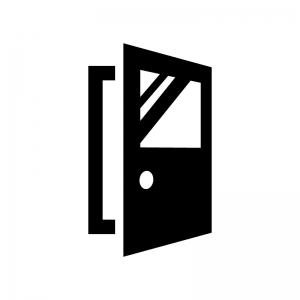 開いたガラス付きドア・扉の白黒シルエットイラスト