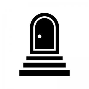 階段とドア・扉の白黒シルエットイラスト