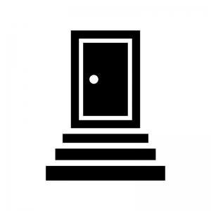 階段とドア・扉の白黒シルエットイラスト02