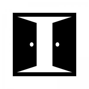 2枚ドア・扉の白黒シルエットイラスト