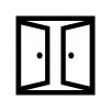 2枚ドア・扉の白黒シルエットイラスト02