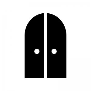 2枚ドア・扉の白黒シルエットイラスト03