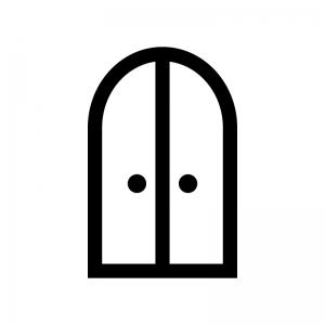2枚ドア・扉の白黒シルエットイラスト04
