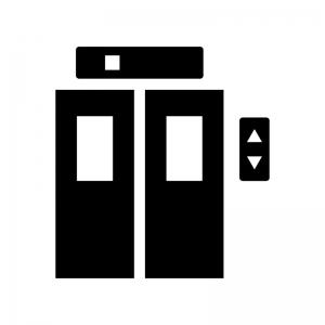 エレベーターの白黒シルエットイラスト03
