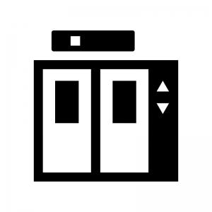 エレベーターの白黒シルエットイラスト04