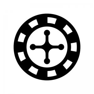ルーレットの白黒シルエットイラスト02