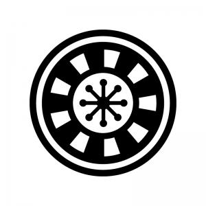 ルーレットの白黒シルエットイラスト04