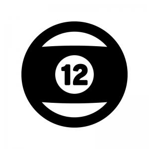 ビリヤードの球の白黒シルエットイラスト02