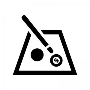 ビリヤードの白黒シルエットイラスト03