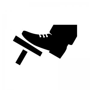 アクセル・ブレーキを踏む白黒シルエットイラスト