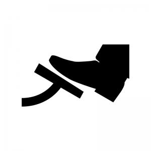 アクセル・ブレーキを踏む白黒シルエットイラスト02