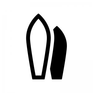サーフボードの白黒シルエットイラスト