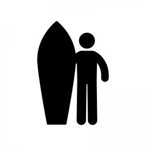 サーフィンの白黒シルエットイラスト