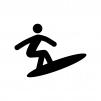 サーフィンの白黒シルエットイラスト02