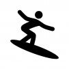 サーフィンの白黒シルエットイラスト03