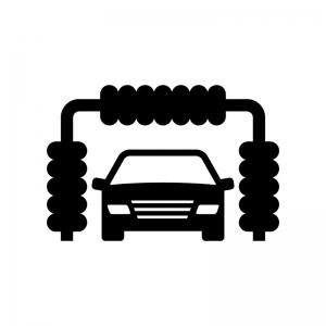 洗車の白黒シルエットイラスト