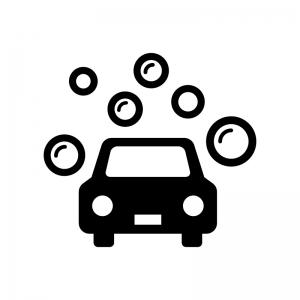 シャンプー洗車の白黒シルエットイラスト
