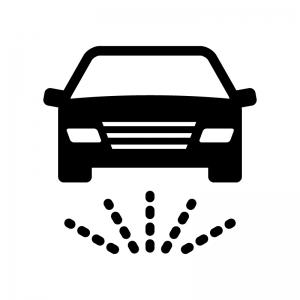 洗車・下部洗浄の白黒シルエットイラスト