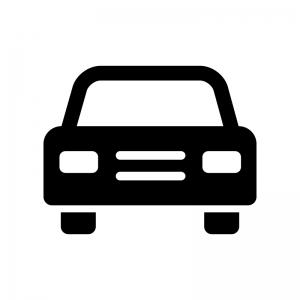 正面から見た自動車の白黒シルエットイラスト04