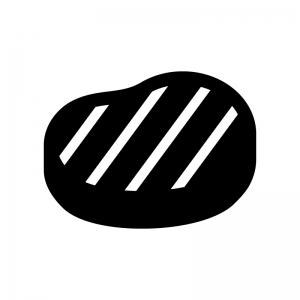 ステーキ肉の白黒シルエットイラスト02