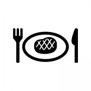ステーキの白黒シルエットイラスト