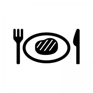 ステーキの白黒シルエットイラスト02