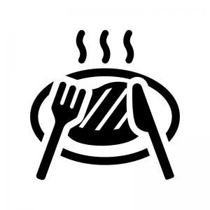 ステーキの白黒シルエットイラスト04