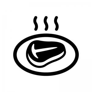 Tボーンステーキの白黒シルエットイラスト02