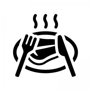 Tボーンステーキの白黒シルエットイラスト03