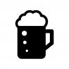 生ビールの白黒シルエットイラスト