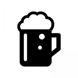 生ビールの白黒シルエットイラスト02