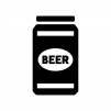 缶ビールの白黒シルエットイラスト