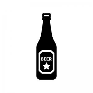 瓶ビールの白黒シルエットイラスト02