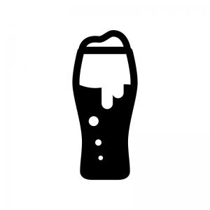 グラスビールの白黒シルエットイラスト03