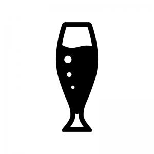 グラスビールの白黒シルエットイラスト04
