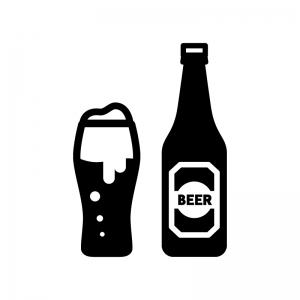 瓶とグラスビールの白黒シルエットイラスト