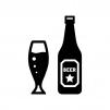 瓶とグラスビールの白黒シルエットイラスト02