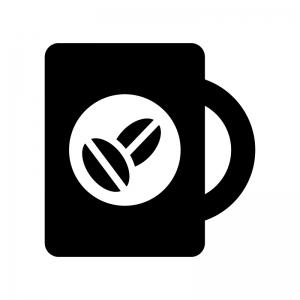 コーヒーの白黒シルエットイラスト