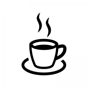 コーヒーの白黒シルエットイラスト03