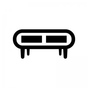 テレビボードの白黒シルエットイラスト02