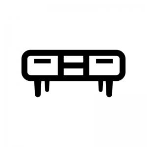 テレビボードの白黒シルエットイラスト03