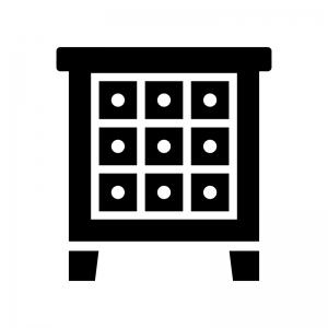 チェストの白黒シルエットイラスト02