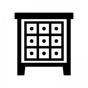 チェストの白黒シルエットイラスト03