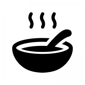 温かいスープの白黒シルエットイラスト