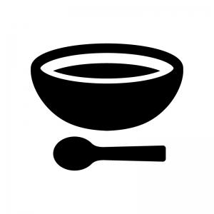 スープの白黒シルエットイラスト02