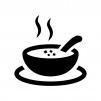 温かいスープの白黒シルエットイラスト03