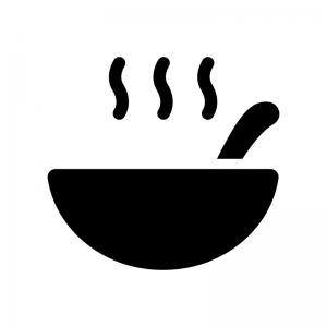 温かいスープの白黒シルエットイラスト04