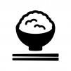 ご飯の白黒シルエットイラスト03