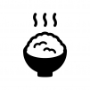 ご飯の白黒シルエットイラスト04
