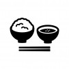 ご飯とみそ汁の白黒シルエットイラスト